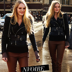 Natalie . - Leatherjacket - Paris brown/black/leather