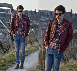 Eliah M - Fizzen Glasses, Faux Leather Jacket, Topman Ethnic Pattern, Cheap Monday Skinny Jeans - - eyes drift slowly