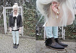 Charlie M. - Zara Pastel Jeans, Fleamarket Anchor Necklace, Zara Shoes, Gina Tricot Golden Ear Cuff, Gina Tricot Skull Head Earring, H&M Leather Jacket, Only Bow Blouse - 17032012