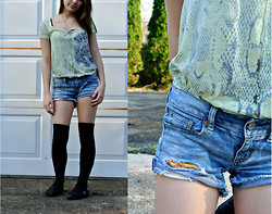 Tash P - Custo Barcelona Green Print Shirt, Diy Patched Shorts, Urban Outfitters Knee Socks, Toms Sparkle - Lucky Green