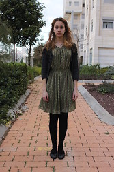 Keren O. - Joseph Black Flats, Secondhand Black Cardigan, Cala Dress, Drugstore Black Tights, Drugstore Black Socks, Gifts Necklaces - Wind Chimes