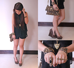 Vanessa Agbayani - Mia Casa Leopard Bangle, 5 Star Ring, People R Black Sheer Top, Zara Black High Waisted Shorts, Tory Burch Leopard Print Bag, Micheal Antonio Leopard Print Wedge, The Ramp Leopard Necklace - Leopard Print Attack