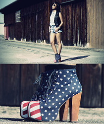 Anjelica Lorenz - Jeffrey Campbell Stars & Stripes Litas, New Yorker Faux Leather Vest - YOUR AMERICAN GIRL.