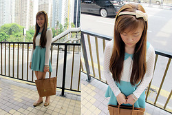 Ashley Liew - Beige Bow Hairband, Mint And White Dress, Brown Bag, Brown Bow Flats - We were mint to be