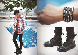 Miko Carreon - Topman Flannel, Cotton On Tank Top, Pants Cotton On, Dr. Martens Boots, Sm Accessories Studded Bracelet - Rockin Bangkok