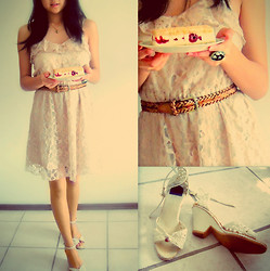 Elaine L - H&M Lace Dress, Vintage Cream Heels - Happy birthday, brother dear.