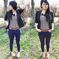 Janine D. - Zara Black Blazer, Zara Violet Blue Pants, Zara Flowered Shirt - Time to Blossom.