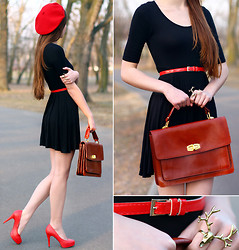 Ariadna Majewska - Asos Black Dress, Jędrzejko Red Beret, Toria Blanic Red Heels, Asos Brown Leather Bag, Antler Ring, Red Belt - Walkin' in the red shoes
