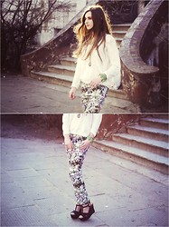 Marta Izabella - Topshop Airy, White Sweater, Six Heart Necklace, Zara Black Wedges, Zara Flower Pants - 18032013