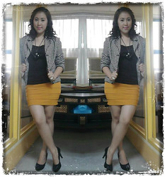 Andi Velasquez - Worthington Houndstooth Blazer, Winx Mustard Bondage Skirt, Rustan's Makati Black Stone Medallion - Just a day...just an ordinary office day...