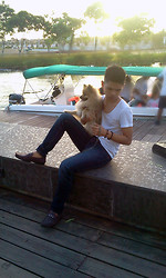 Judyson Dumapias - S&H Coffee Shoes, Zara White Round Neck Plain Shirt - Who let the dog out? Me.