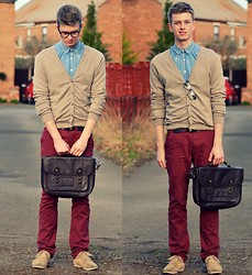 Rob Evans - Zara Shoes, H&M Cardigan, Topman Shirt, Vintage Belt, Primark Chinos, Topman Satchell - Monday Mourning
