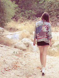 Wild At Heart - Vintage American Flag Denim Jackey, Jeffrey Campbell Boots - American woman
