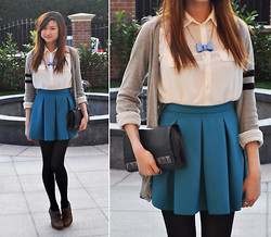 Yinyin W - Topshop Sheer White Blouse, Topshop Teal Pleated Skirt - We Own The Sky
