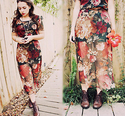 Hannah Grace - Vintage Floral Shear Dress, Thrifted Vintage Boots - Too late for Roses