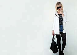 Anastasia - - Zara White Coat, Mango Leather Bag, Topshop Black Creeper Like Shoes, Zara Skull T Shirt - Blanc
