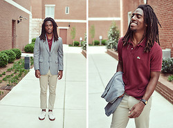 Zachary Gray - Dr. Martens 1461, Lacoste Vintage Polo, Thrift Store Blazer - Spring Uniform