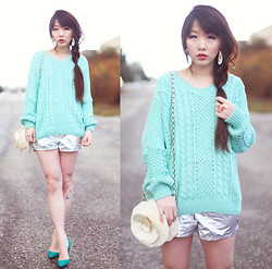 Ivy Xu - Stylenanda Sweater, Manolo Blahnik Shoes, American Apparel Silver Folio Sun Shorts - Icing Blue