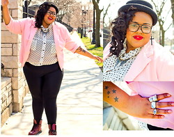 Tiffany Tucker - Vintage Blazer, Topshop Bowler Hat, Polka Dot Blouse, Eye Ring - Early Chicago Spring