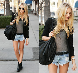 Shea Marie - Gomer Sunnies, Helmut Lang Blazer, Helmut Lang Bag, One Teaspoon Shorts, Dolce Vita Booties, Poleci Tank - Easy Going
