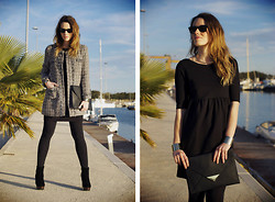 Macarena Gea - Blanco Coat, Still Sara Dress, H&M Clutch, H&M Bracelets, Friis & Company Booties, Ray Ban Sunnies - *black & tweed*