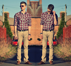 Rob Evans - A Friend's Shirt, H&M Sunglasses, Vintage Belt, H&M Trousers, Topman Shoes - Never Say Never