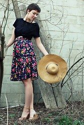 Emily Reifert - Thrift Floral Skirt, Thrift Black Lace, Steve Madden Wedges, Thrift Hat - I could do without a tan on my left hand...