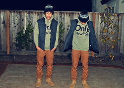 Matthew Nario - Effulgence Beanie, Only Ny Hoodie, H&M Brown Chinos, A.P.C. Bateau Montante Boots, Gap Puff Vest - The Contest Winner