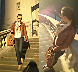 ChicFab Hunt - Michael Kors Bag, H&M Scarf, Argentina Leather Jacket - Let the Sunshine In