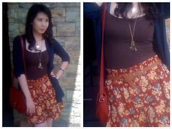 Carla Garcia - Forever 21 Tank Top, Sis Store Navy Blue Cardigans, Forever 21 Floral Skirt, Mango Red Bag, Korean Store Brown Belt, Kamiseta Bracelet - Its a sunny day!