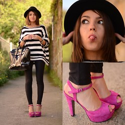 Alexandra Per - Again & Sandals, Queens Wardrobe Sweater, 3.1 Phillip Lim Bag, H&M Hat - Touch of pink