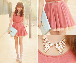 Dotthy Wong - Ingni Shoes, Bbw Tank Dress, Bbw Pastel Skirt, Accessorize Clutch Bag, One Spo Necklace - Apple Pie ♥