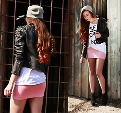 Klaudia Klara - Diy Studded Leather Jacket, Second Hand Skirt, Diy Top - Sex, drugs & maths