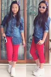 Veren Lee - Pull & Bear Denim Shirt, Giordano Red Pants, H&M White Sunnies, Skechers Sneaker Wedges - I'm not alone