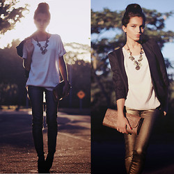 Alana Ruas - Scaramuggio Pants, Scaramuggio Shirt, Felicee Blazer, Scaramuggio Necklace, Schutz Clutch - Golden afternoon .