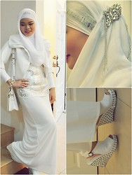 Nor Alifah A - Old Blossom Box Store Obb Dairy Book Clutch, Studded Peep Toe Wedges - ELEGANCE IN WHITE