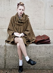 Marie Jensen - Dubonnet By Mac Lipstick, Second Hand Cape, A Present Pearl Necklace, American Apparel Bow, Hend Me Down From Mum Satchel, H&M Socks, Moleskin Traveling Book, H&M Shoes - The old times