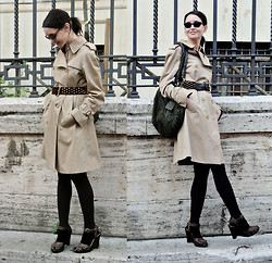 Annapaola Brancia - Burberry Trench Coat, Vintage Studded Belt - I too have a Burberry