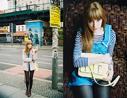 Lauren Park - Topshop Nautical Denim Playsuit, H&M Lemon Satchel, New Look Stripy Tee, Primark Brogues, Topshop Coat - Berlin Flea Markets