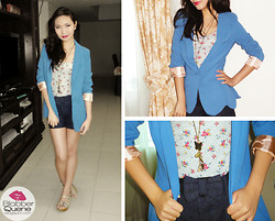 Kim Anne C - Romwe Blazer, Garage Floral Top, Candie's Shorts With Bow Belt, Charms - The Spring Blazer