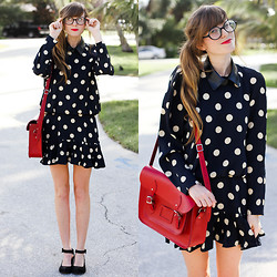 Steffy Degreff - Tea And Tulips Twist Again Dress, Shop Akira Faux Leather Collar, Modcloth Cambridge Satchel - Just a gal who loves polka dots! ♥