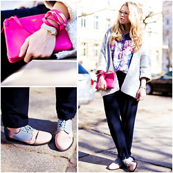 Sophia S - Céline Bag, Minimarket Brogues, Vintage Blouse, H&M Cardigan, Zara Trousers - All Wrapped Up In Spring