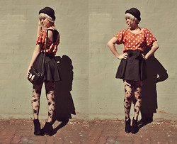 Annika Victoria - Polka Dot Cut Out Shirt, Circle Skirt, Hat, Satchel Bag, Forever 21 Floral Tights, Rubi Shoes Black Boot Style Wedges - Spot on!