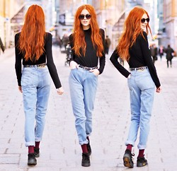 Ebba Zingmark - Weekday Baggy Jeans, Tshirtstore Glasses, 2hand Shoes, Mango Polo - I Walk The Line