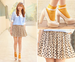 Dotthy Wong - Romwe Chiffon Top, Hong Kong Cat Skirt, H&M Socks, Ingni Shoes - Keylime Pie with Blueberry Compote ♥