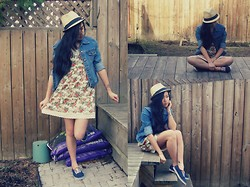 Kat - Jules & James Straw Hat, Forever 21 Floral Dress, Vintage Jean Jacket, Nautical Shoes - AUDREY