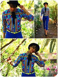 Luna Nova - Vintage Colorful Tribal Button Down - Electrifying!