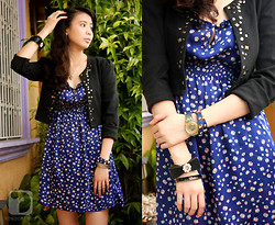 Carla Garcia - Forever 21 Blue Floral Dress, Korean Rose Black Vest, Penshoppe Blue With Gold Touch Bracelet, Swatch Vintage Watch, Topshop Ribbon With Bangles Bracelet - Just wanna be free...