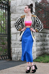 Jessica Marie. - Versace Vintage 90's Versace Inspired Blazer, Thrifted 90's Neon Sport Bandeau, Armani Exchange High Waisted Maxi Athletic Skirt, Forever 21 Chunky Platforms - Neon Dreams