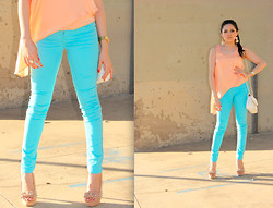 Ashley Meza -  - Turquoise Jeans